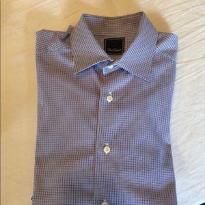 David Donahue (16/34-35) purple plaid dress shirt.